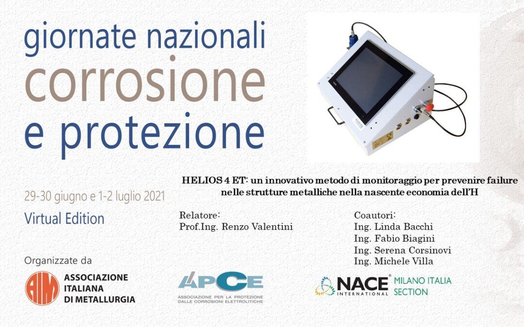 """Giornate Nazionali sulla Corrosione e Protezione: """"HELIOS 4 ET: un innovativo metodo per il monitoraggio degli idrogenodotti"""""""